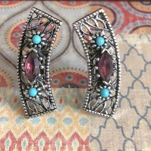 Vintage Turquoise/Amethyst Clip On Earrings